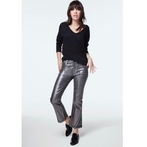 NWT J Brand Selena Cropped Boot Cut Foiled Chrome